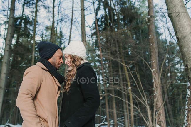 Многорасовая пара позирует в зимнем лесу — стоковое фото