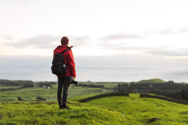 Vista traseira do turista com câmera no campo com colinas rolantes — Fotografia de Stock