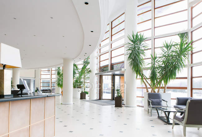 Interior view of big entrance hall in hotel — Stock Photo