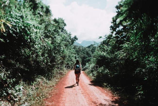 Vista posteriore della donna di turista con lo zaino che cammina sulla strada in campagna — Foto stock