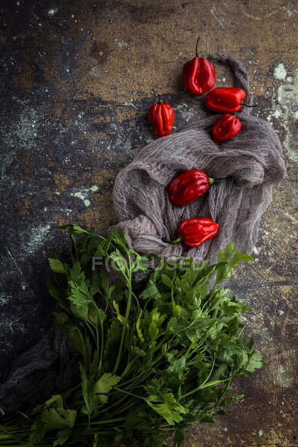Still life of fresh red peppers and parsley on stone surface — Stock Photo