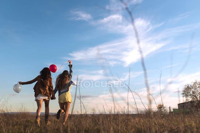 Rückansicht der Frauen Hand in Hand und zusammen laufen mit Luftballons in der Natur — Stockfoto