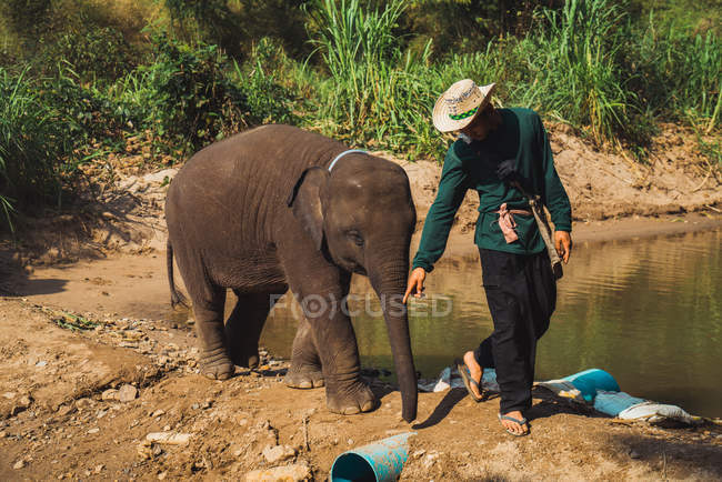 CHIANG RAI, THAILAND- FEBRUARY 10, 2018: Young man walking with elephant baby — Stock Photo