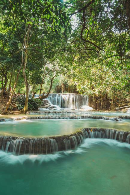 Идиллический вид небольших водопадов, течет в джунглях — стоковое фото