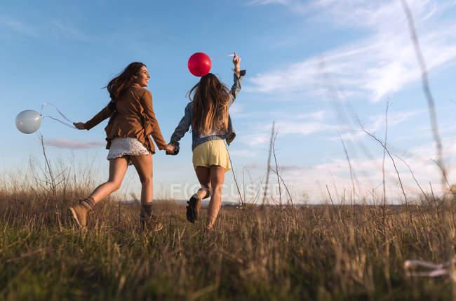 Задньої зору жінок взявшись за руки і працює з повітряними кулями у природі разом — стокове фото
