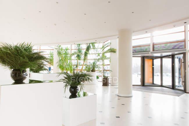 Grande corridoio con le piante in vaso e porte d ingresso in hotel