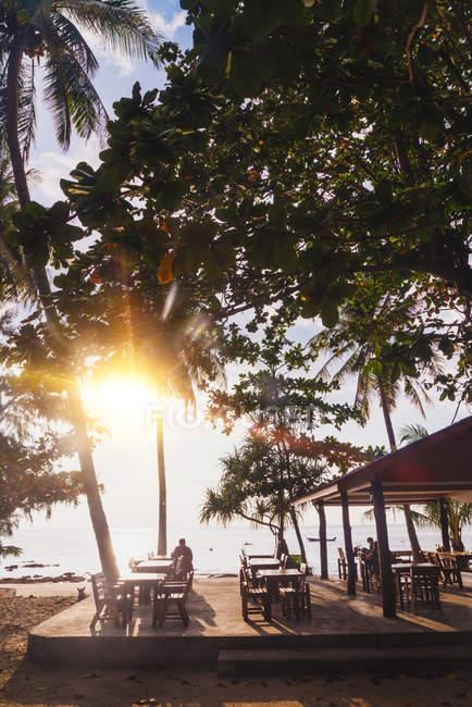 Солнечная терраса кафе на тропическом берегу — стоковое фото