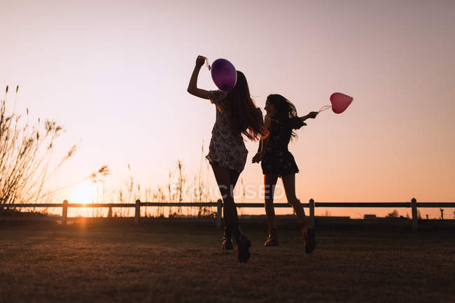 Rear view of young women running with heart-shaped balloons in sunset countryside — Stock Photo