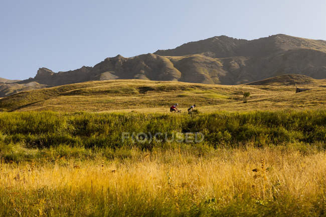 Scenic landscape with sunlit field with mountains on background — Stock Photo