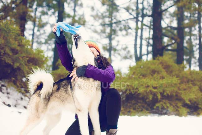 Mulher rindo, brincando com o cão no bosque de inverno — Fotografia de Stock