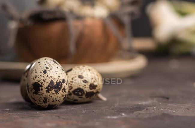 Feche ovos de codorniz na mesa de madeira — Fotografia de Stock