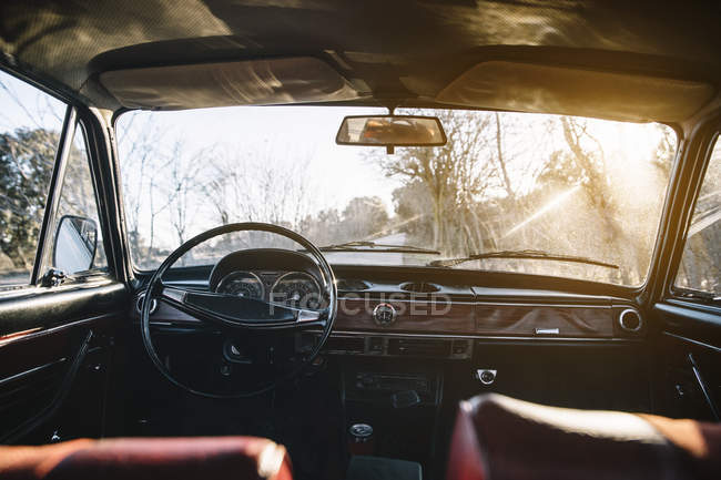 Interior of vintage old car parked in nature in sunny day. — Stock Photo