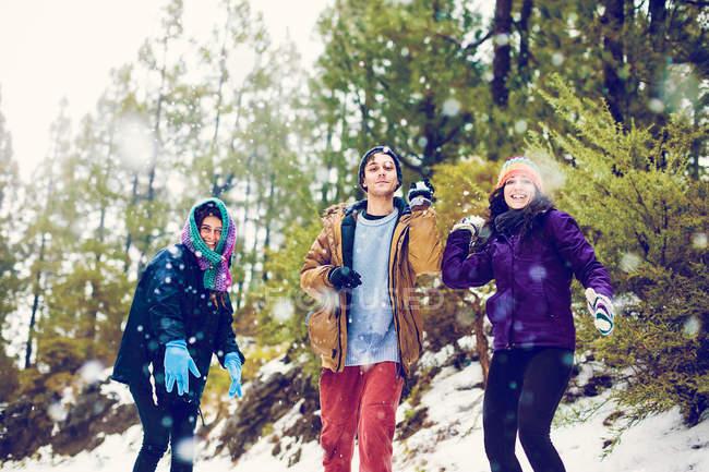 Amigos felizes jogando bolas de neve na câmera no bosque — Fotografia de Stock