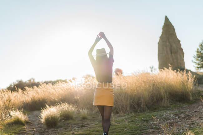 Visão traseira da mulher de chapéu posando na natureza com os braços para cima — Fotografia de Stock