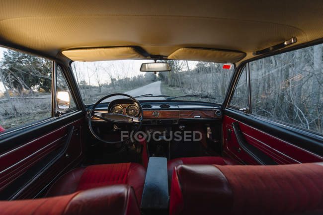 Interior of vintage old car parked in nature — Stock Photo