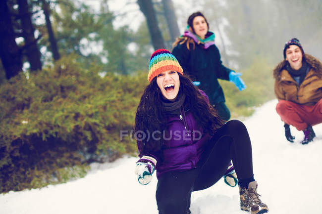 Rindo amigos jogando bolas de neve no bosque de inverno — Fotografia de Stock