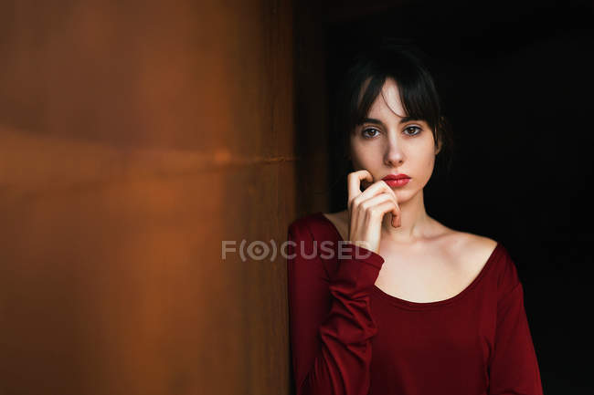 Portrait of brunette girl looking at camera while touching face a — Stock Photo