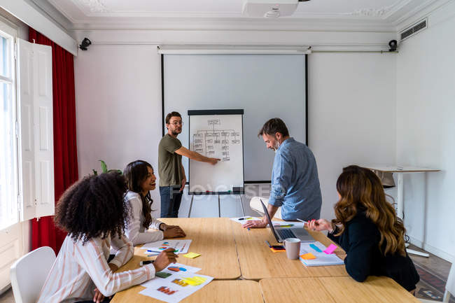 Homem dando apresentação no escritório — Fotografia de Stock