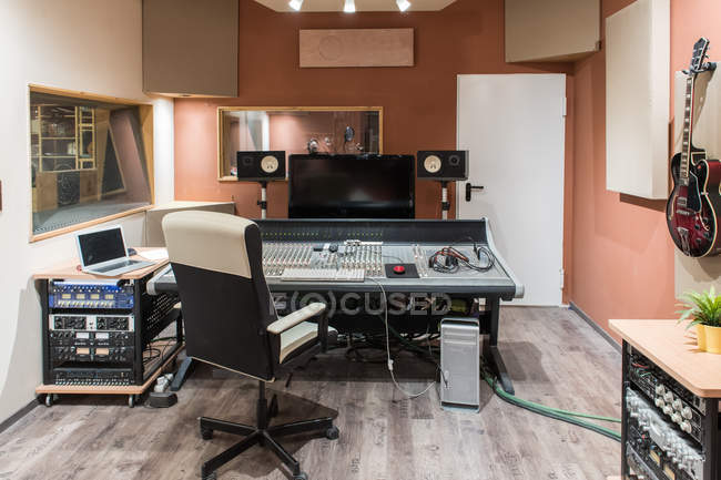 Control room in recording studio — Stock Photo