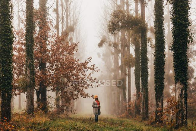 Frau steht im nebligen Wald — Stockfoto