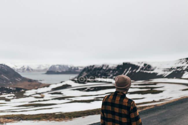 Vue arrière de l'homme en chapeau et chemise debout sur fond de chaîne de montagnes enneigées dans les lacs, Islande. — Photo de stock