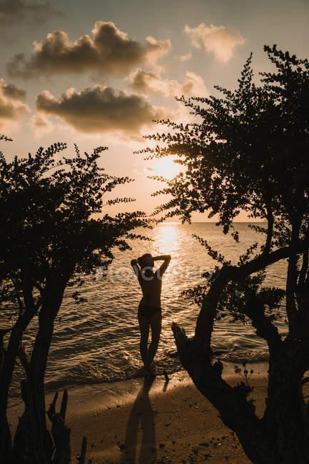 Жінка відпочинку на березі моря — стокове фото