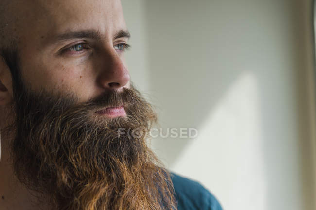 Thoughtful bearded man — Stock Photo