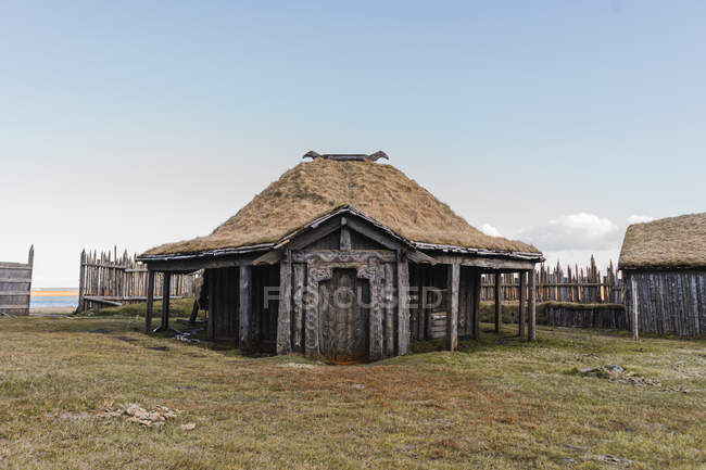 Old triangular wooden house — Stock Photo