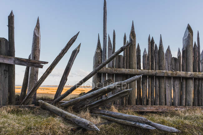 Old collapsed wooden fence — Stock Photo