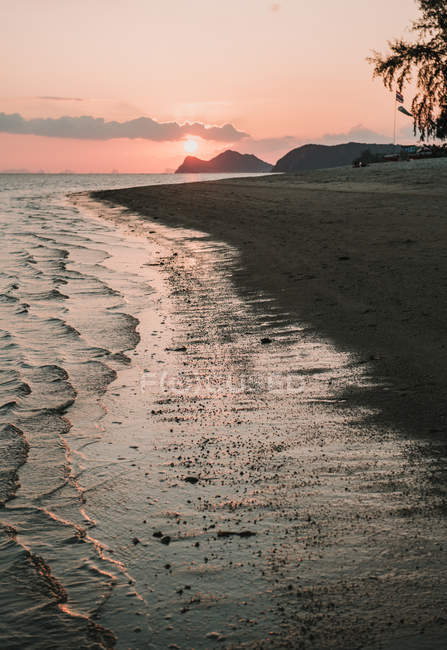 Sandy beach at sunset — Stock Photo