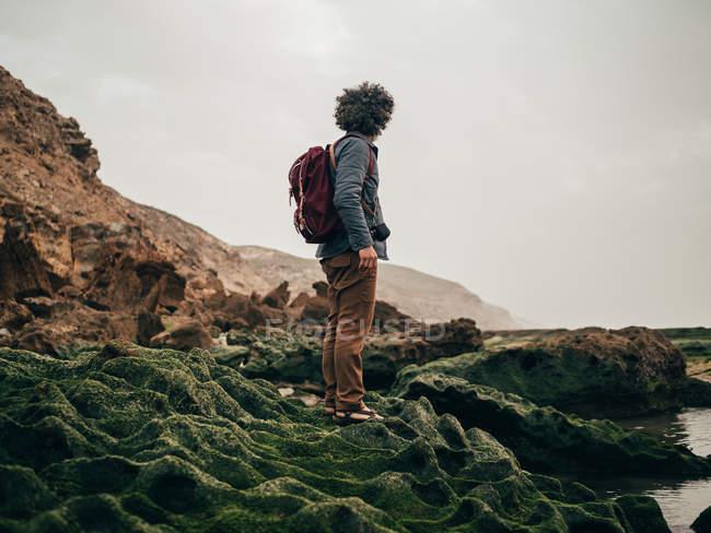 Turista de pie sobre piedra verde en el océano - foto de stock
