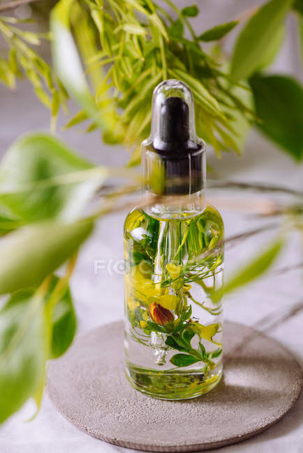 Essential oil with flowers and herbs — Stock Photo