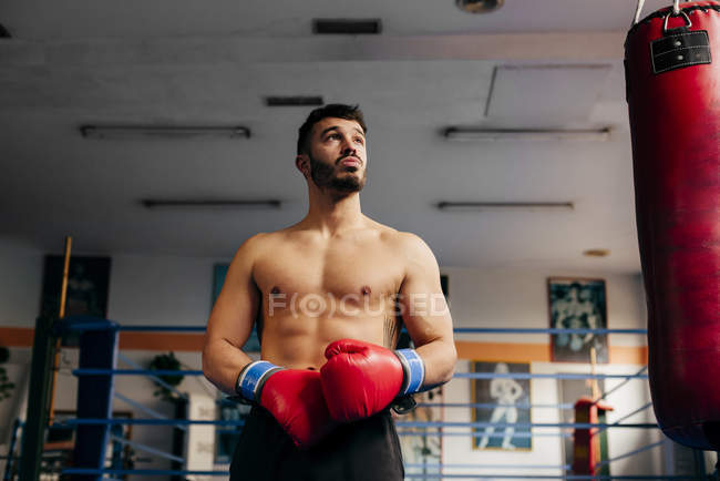 Muscular man in gloves standing in gym — Stock Photo