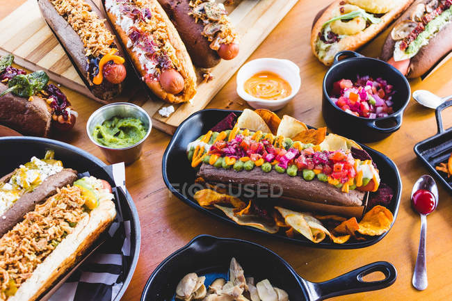 Various served hot dogs — Stock Photo