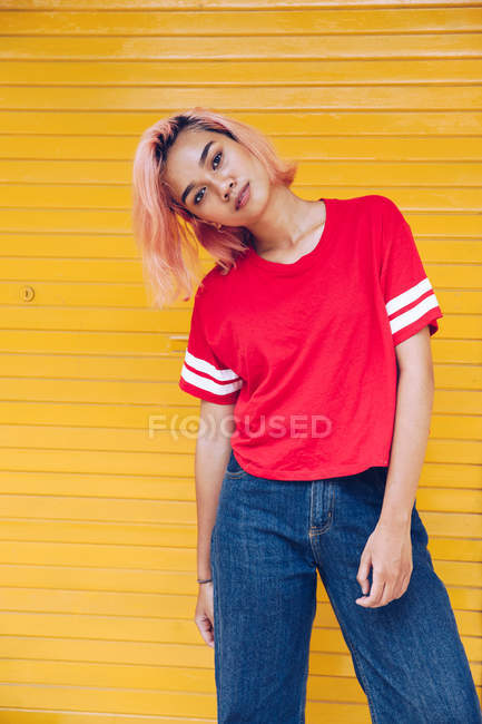 Femme funky aux cheveux roses — Photo de stock