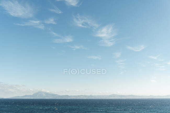 View of Gibraltar Strait and Yebel Musa of african coast from Tarifa village, Spain — стоковое фото