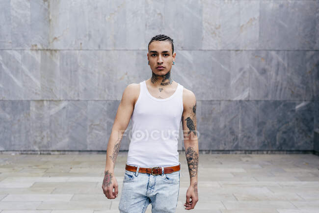 Tattooed man with piercing — Stock Photo