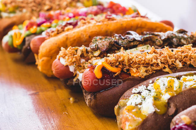 Plenty of various served hot dogs — Stock Photo