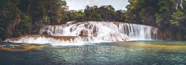 Vue panoramique sur les éclaboussures de cascades dans la jungle, Chiapas, Mexique — Photo de stock