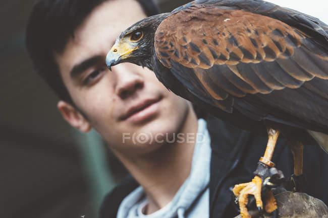 Junger Mann steht und sieht Falke im Zoo an der Hand sitzen — Stockfoto