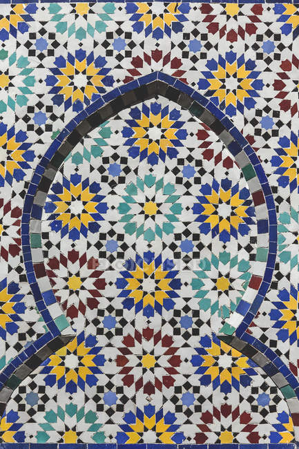 Typical patterned moroccan facade of building — Stock Photo