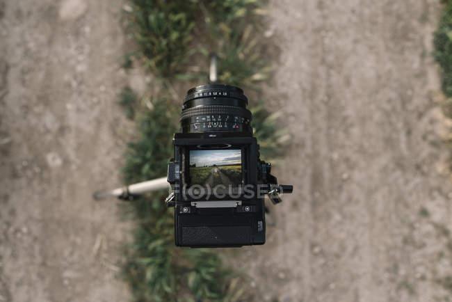 Закри ретро фотоапарат з невеликий дисплей, беручи фотографії природи — стокове фото