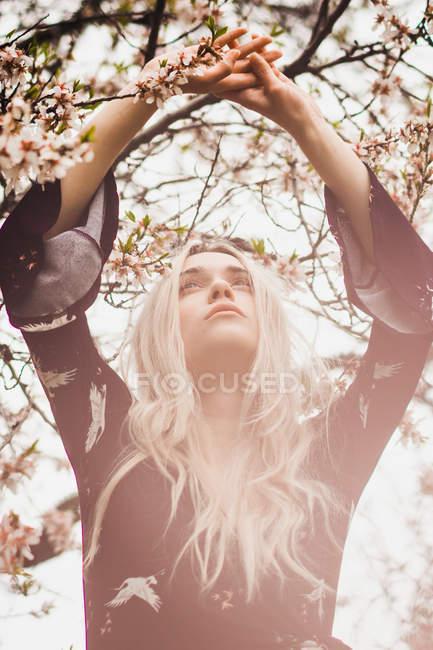 Jovem loira de pé na árvore florescente com as mãos para cima — Fotografia de Stock