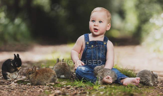 Mignon petit garçon en denim assis avec des petits lapins sur le sol dans le parc — Photo de stock