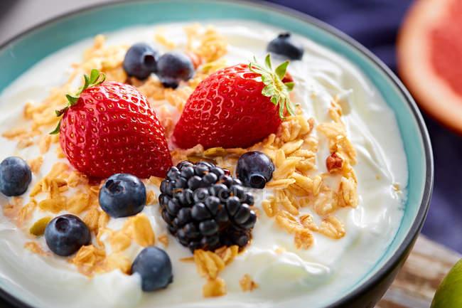 Bowl de yogurt fresco con fresas y cereales - foto de stock