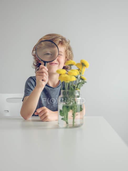 Menino com lupa olhando para dentes-de-leão — Fotografia de Stock