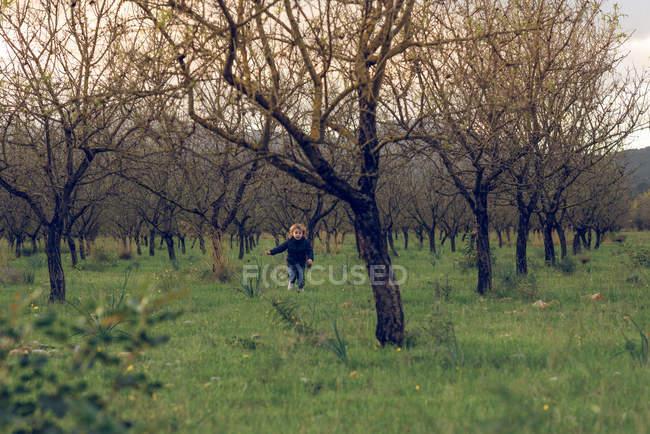 Boy running on sunny meadow — Stock Photo