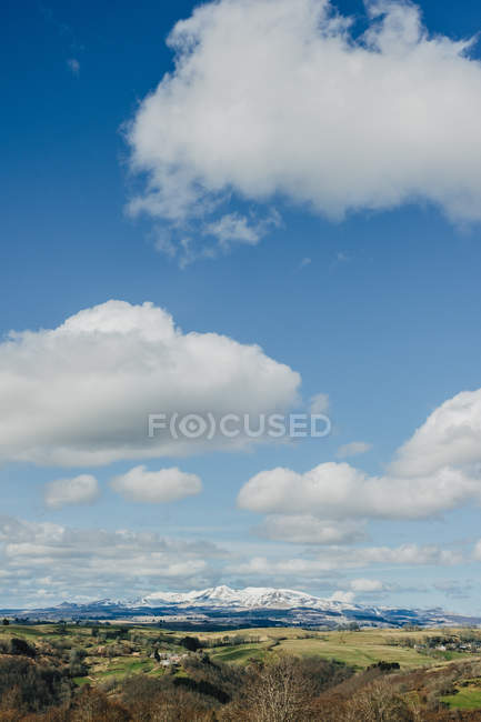 Green field and snowy mountains — Stock Photo