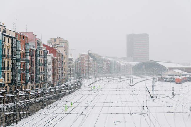 Train station covered with snow in Bilbao, Spain. — Stock Photo