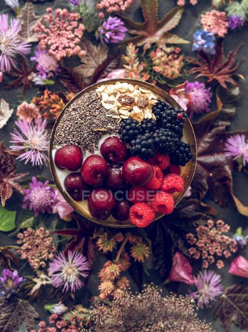 Frühstück mit Beeren in Schüssel — Stockfoto